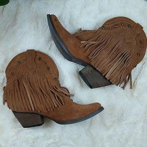 Volatile suede Ankle Fringe Cowboy boots Size 7.5.